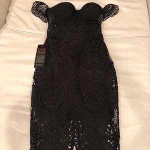 Bebe Black Crochet Lace bustier dress